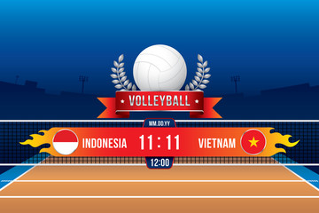 Volleyball tournament design with players and scoreboard.
