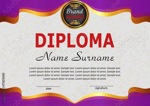 diploma elegant purple template reward winning the competition