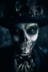man with skull makeup