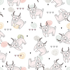 Vector pattern with deer. Printable templates.