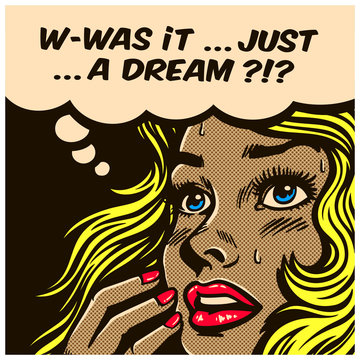 Pop art style comic book panel doubtful wondering woman can't tell reality from fantasy, daydreaming, dreams, delusion, vector illustration