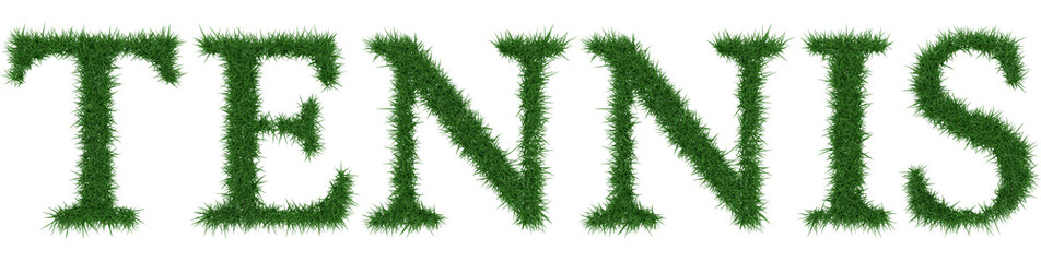 Tennis - 3D rendering fresh Grass letters isolated on whhite background.
