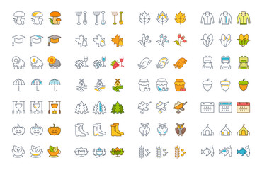 Set Vector Flat Line Icons Autumn