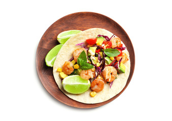 Plate with delicious shrimp taco, isolated on white