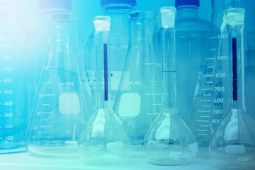Laboratory Research - Scientific Glassware or beakers For Chemical Background concept