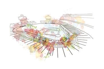 Watercolor sketch of Baseball Stadium in vector illustration.