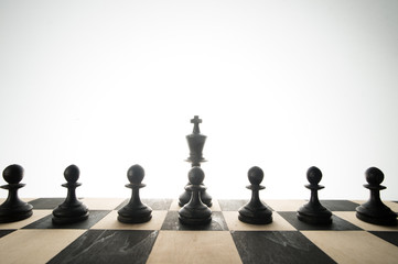 Chess pieces, pawns and a king