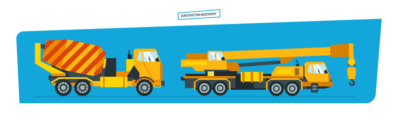 onstruction machines, car with crane, vehicles for transportation, concrete mixer.