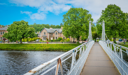 Infirmary Bridge in Inverness on a summer morning, Scottish Highlands.