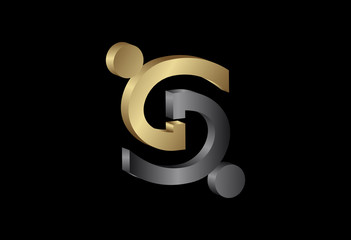 3d partnership human infinity logo in gold and metal color