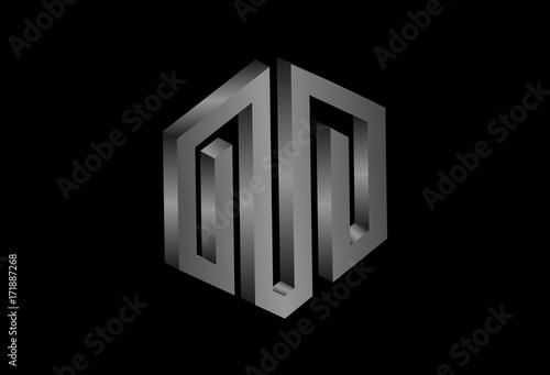 hexagonal 3d logo concept in metal color stockfotos und lizenzfreie vektoren auf. Black Bedroom Furniture Sets. Home Design Ideas