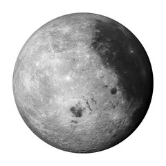 3D render, 'left' side of the moon isolated on white background