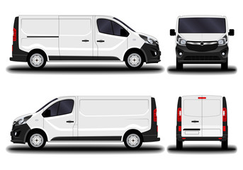 realistic cargo van. front view; side view; back view.