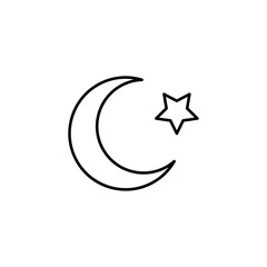 islam star and crescent moon icon