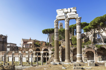 View of the ruins of Roman forum in Rome. Italy