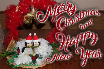 Christmas decoration for postcards or tags marry cristmas and happy new year