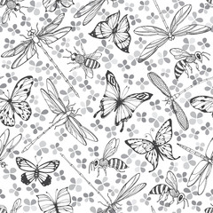 Flying insects. Seamless pattern with butterflies, dragonflies and bees on a floral background. Monochrome vector illustration.