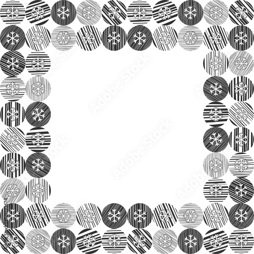 abstract square frame with snowflakes on a white background with space for text perfect for
