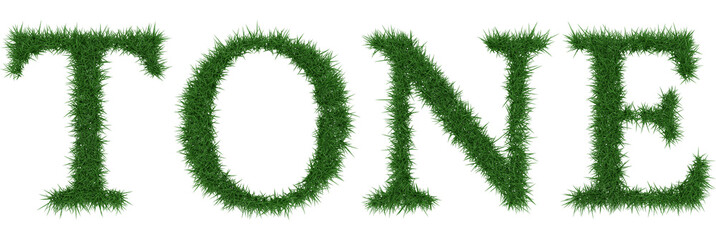 Tone - 3D rendering fresh Grass letters isolated on whhite background.