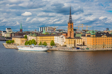 View onto Riddarholmen island in Stockholm old town Gamla Stan in Sweden