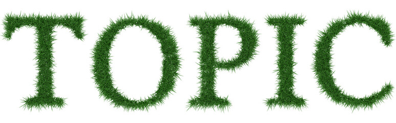 Topic - 3D rendering fresh Grass letters isolated on whhite background.