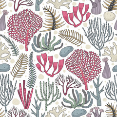 Seamless pattern with seaweed and coral. Freehand drawing. Can be used on packaging paper, fabric, background for different images and etc.