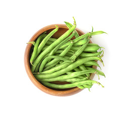 Bowl with fresh green beans on white background