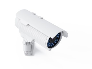 3D rendering security camera on white background