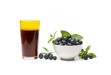 fresh blueberry juice in the glass - white background - isolated