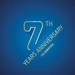 Anniversary 7th years celebration logo gold blue greeting card