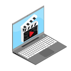 Main types of video content, video window and film, isometric style