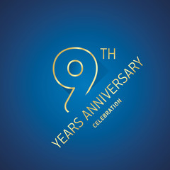 Anniversary 9th years celebration logo gold blue greeting card