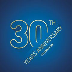 Anniversary 30th years celebration logo gold blue greeting card