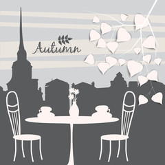 Autumn landscape street cafe, autumn leaves, vector, illustration, banner