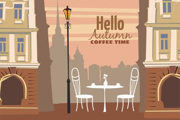 Autumn cityscape, street cafe, vector, illustration, banner