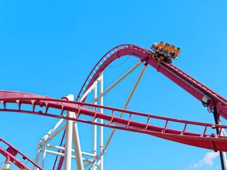 Roller coaster car going upward at full speed
