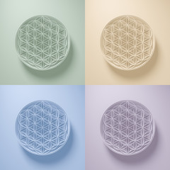 3D Illustration - Collection of Flower of Life Signs