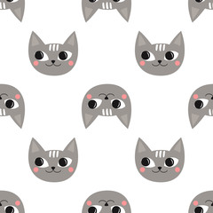 Seamless pattern cute cats for kids holidays. Baby shower vector background. Child drawing style kitty design for print on baby's clothes, textile, wallpaper, fabric.