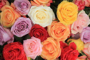 Mixed wedding roses