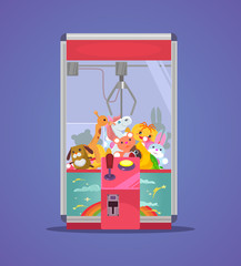 Doll machine. Vector flat cartoon illustration