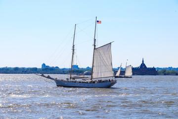 Sailboat sailing in Upper New York Bay