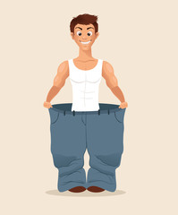 Happy smiling man character loose weight and try big pans. Vector flat cartoon illustration