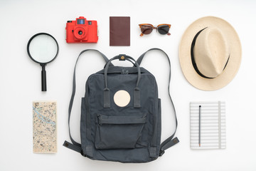 Backpack with travel supplies
