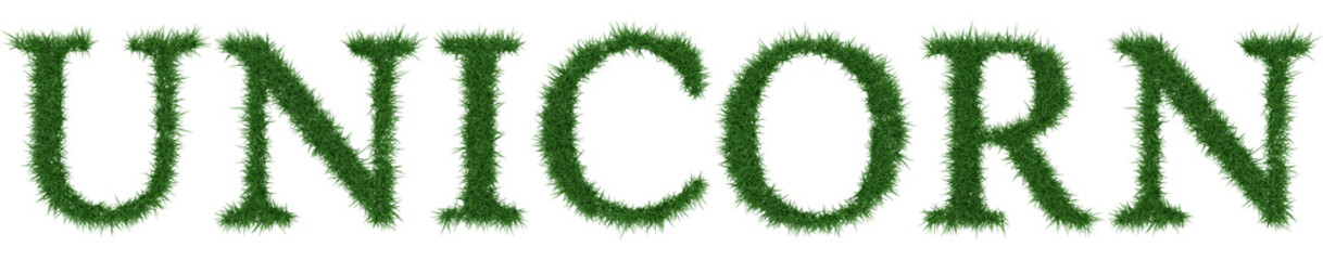 Unicorn - 3D rendering fresh Grass letters isolated on whhite background.