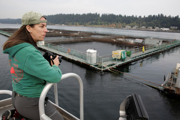 Amy Gulick of Whidbey Island, Washington takes photos during a protest near a an open-water net pen during a flotilla against the expansion and renewal of Atlantic salmon net pens in Washington state at Rich Passage off Bainbridge Island, Washington