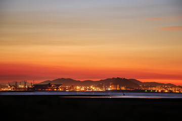 Foto op Canvas Las Vegas Panoramic view of Santander city from the Bay of Santander in evening. Cantabria, Spain