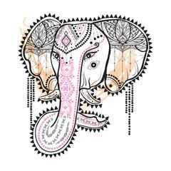 Boho illustration with ornamental elephant at watercolor background. Ethnic vintage style.