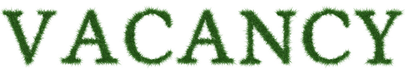 Vacancy - 3D rendering fresh Grass letters isolated on whhite background.