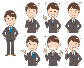 スーツを着たビジネスマン(セット・全身)