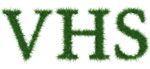 Vhs - 3D rendering fresh Grass letters isolated on whhite background.